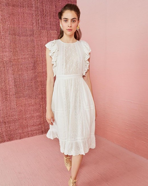 spring bridal shower dress white eyelet ruffled midi