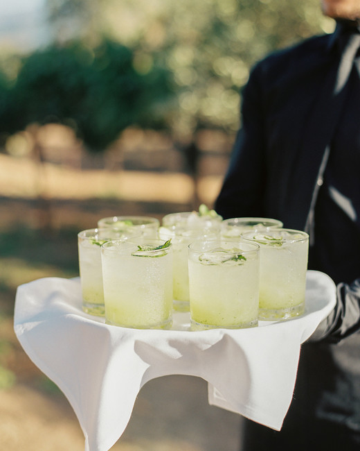 "cucumber and gin ""Roosevelt's Cup"" cocktail filled tray"