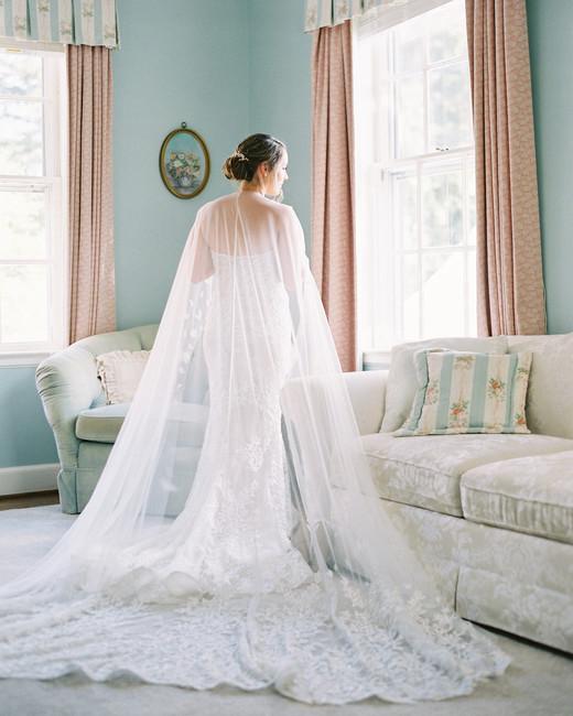 bride dress full length cape