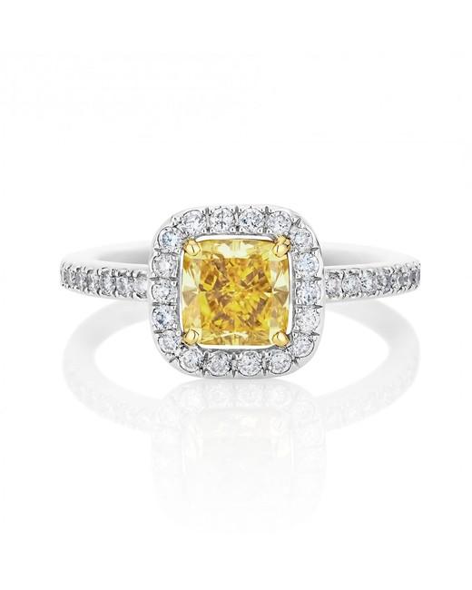 Yellow Aura Cushion-Cut Ring