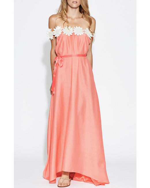 white flower embroidered coral maxi dress