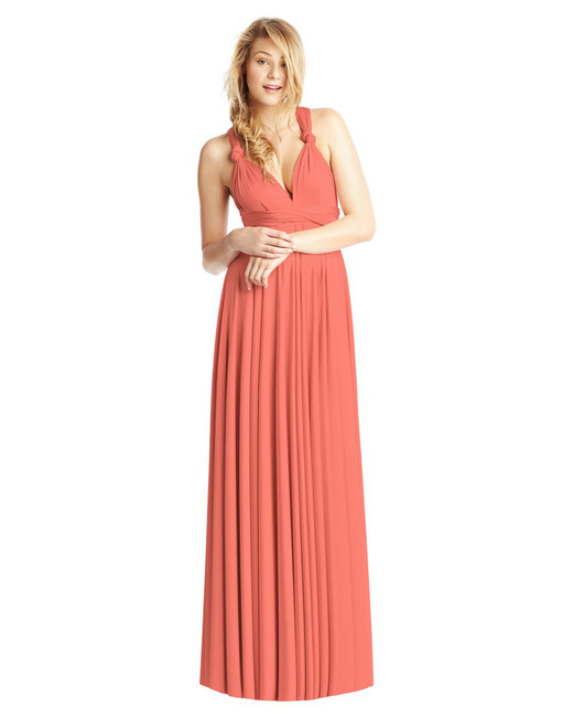 floor length coral ball gown
