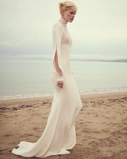 costarellos high neck slit long sleeves wedding dress spring 2020