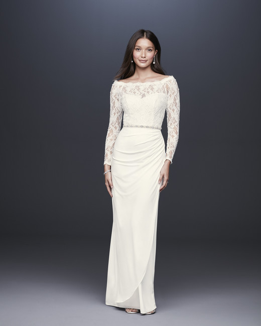davids bridal db studio fall 2019 trumpet off the shoulder long sleeves lace beaded belt