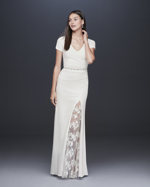 davids bridal db studio fall 2019 trumpet high slit v neck short sleeve sheer lace beaded belt