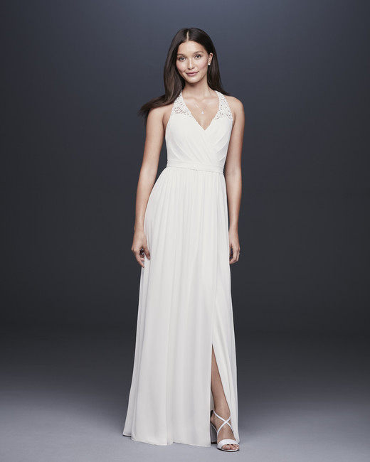 davids bridal db studio fall 2019 trumpet low slit v neck sleeveless simple lace