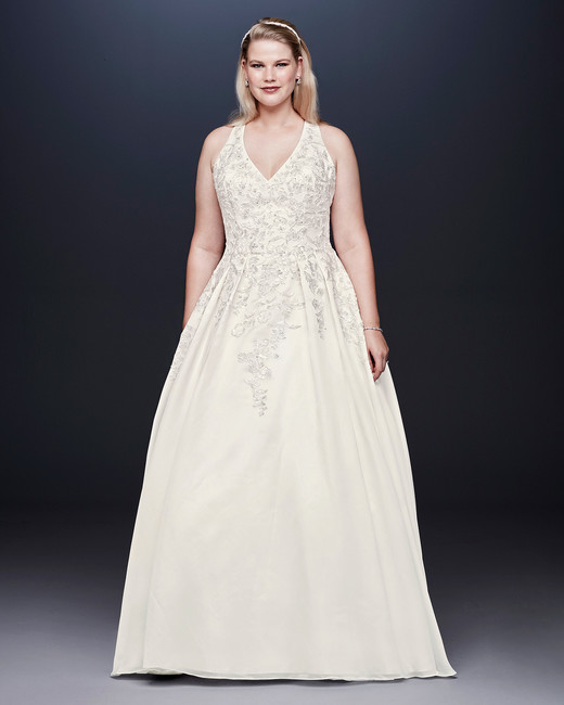 ee8dd98ce50 davids bridal wedding dress fall 2019 pleated v-neck a-line