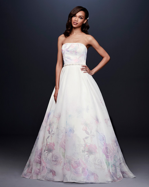 davids bridal wedding dress fall 2019 strapless a-line with pastel flowers