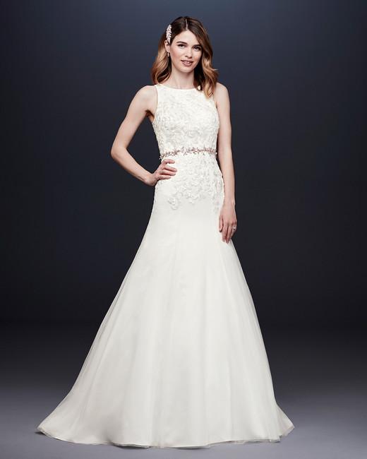 davids bridal wedding dress fall 2019 high-neck a-line with belt