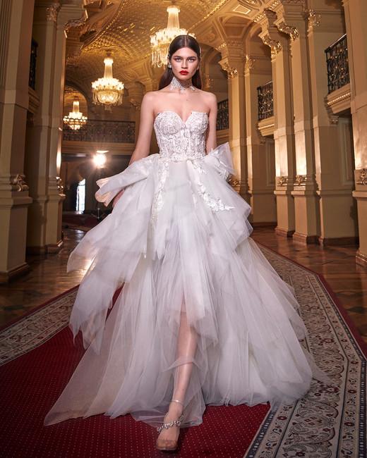 galia lahav strapless irregular ruffled handkerchief skirt wedding dress spring 2020