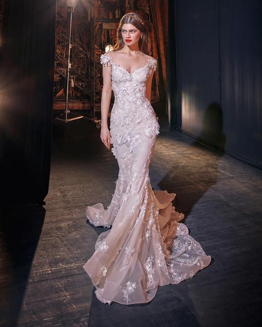 galia lahav cap sleeves floral applique trumpet wedding dress spring 2020
