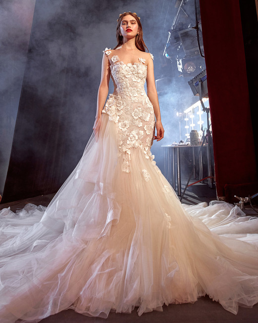galia lahav asymmetrical tulle skirt illusion wedding dress spring 2020