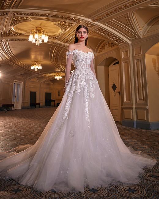 galia lahav tulle off the shoulder embellished wedding dress spring 2020