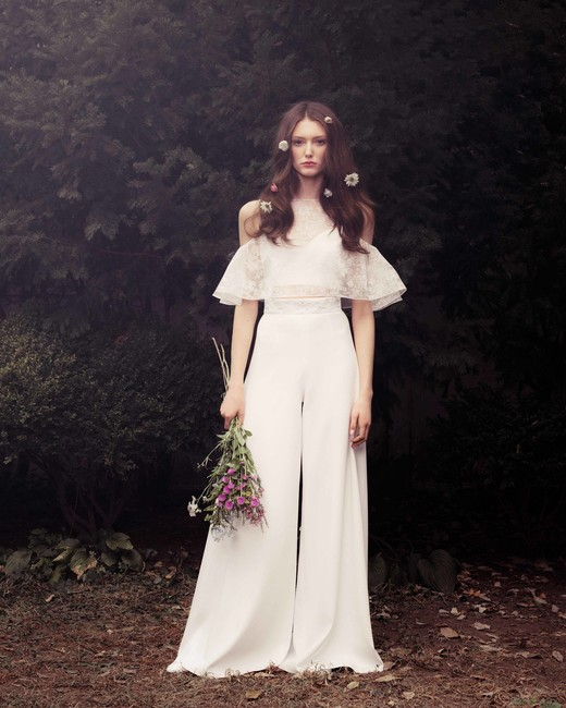 honor fall 2018 off-shoulder trouser wedding dress