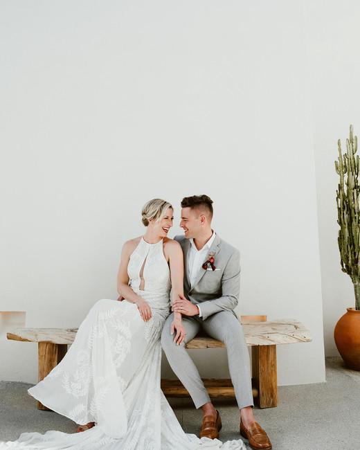 lisa sam mexico wedding couple on bench