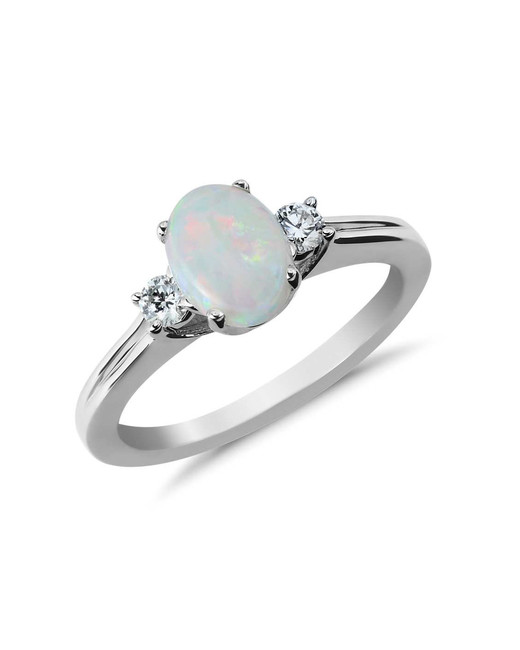 white gold band opal engagement ring