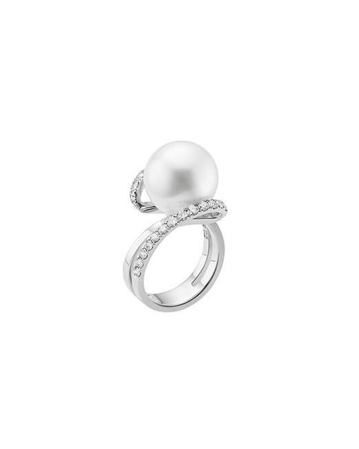 Mikimoto White South Sea Cultured Pearl and Diamond Ring