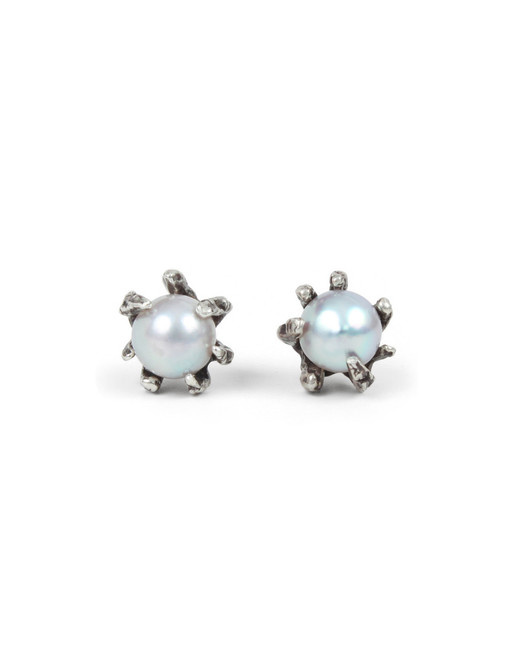 pearl wedding earrings lauren wolf grey claw