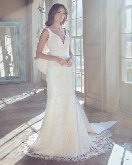 sareh nouri wedding dress spring 2019 v-neck floral lace dress with bow belt