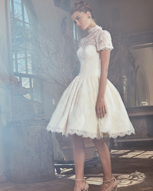 sareh nouri wedding dress spring 2019 short ballgown with high neck