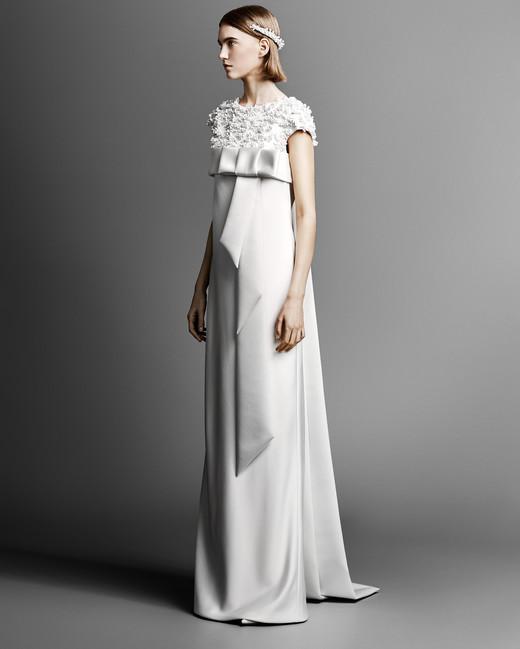 short sleeve viktor rolf sheath wedding dress spring 2019