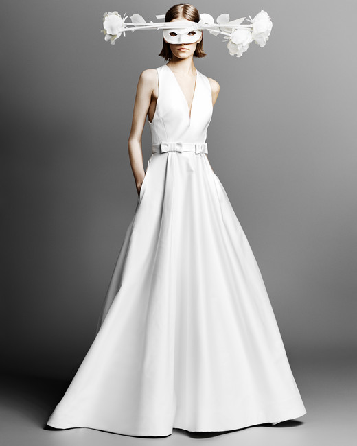 v-neck viktor rolf a-line wedding dress spring 2019