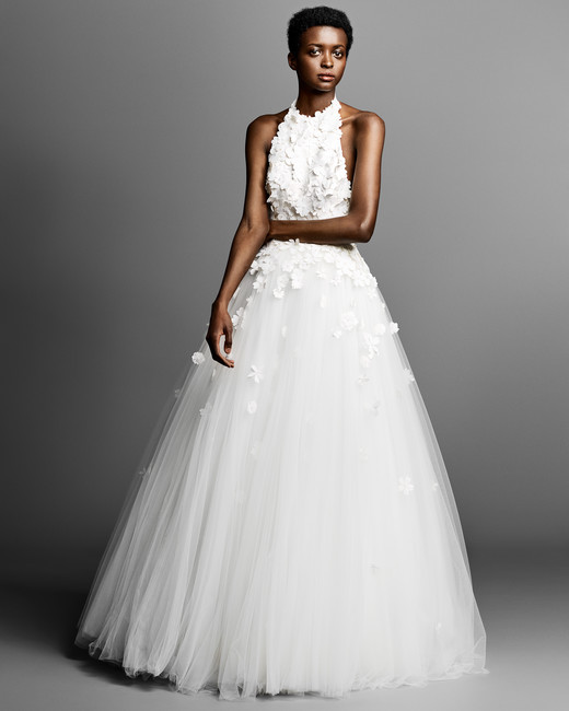 viktor rolf a-line wedding dress with halter neckline spring 2019
