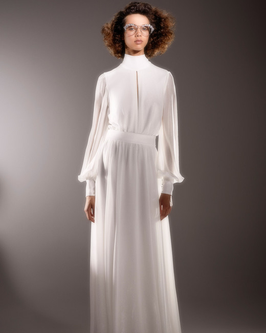 viktor and rolf long sleeve high neckline sheath wedding dress spring 2020