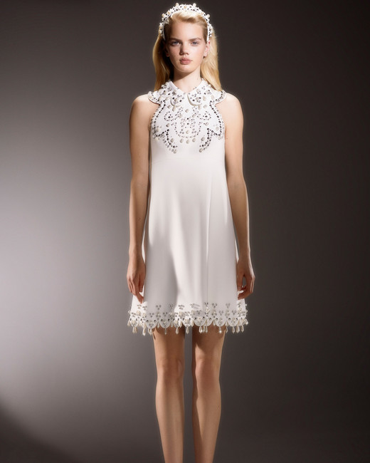 viktor and rolf short beaded halter wedding dress with collar spring 2020
