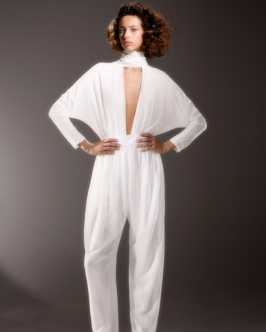 viktor and rolf long sleeve plunging neckline jumpsuit wedding dress spring 2020