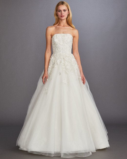 strapless straight across floral applique tulle skirt a-line wedding dress Allison Webb Spring 2020