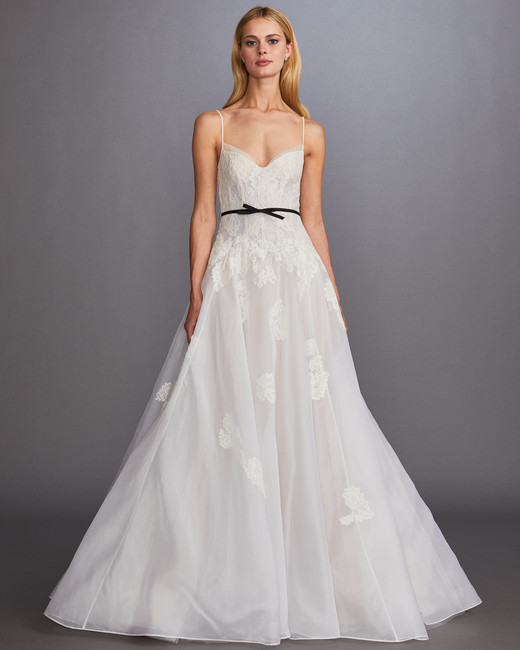 spaghetti strap sweetheart neckline lace tulle black belt a-line wedding dress Allison Webb Spring 2020