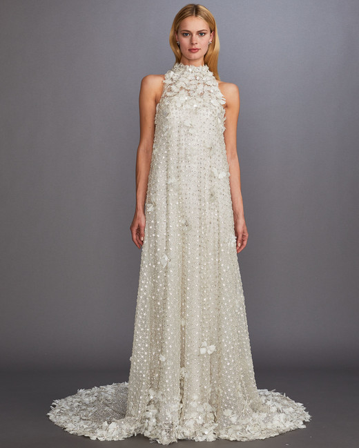 high neck sleeveless beaded floral appilque sheath wedding dress Allison Webb Spring 2020