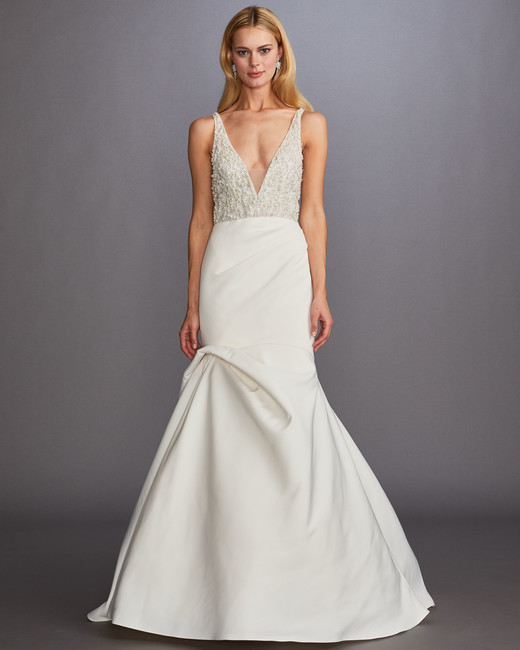 thick spaghetti strap deep v-neck beaded bodice trumpet wedding dress Allison Webb Spring 2020