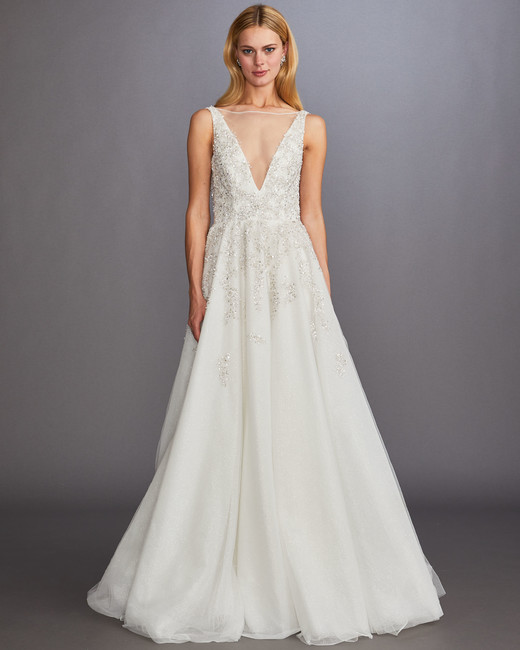 illusion boat neck sleeveless beaded a-line wedding dress Allison Webb Spring 2020