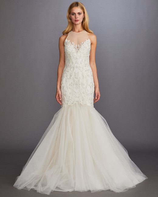 illusion hight neck sleeveless beaded glitter trumpet wedding dress Allison Webb Spring 2020