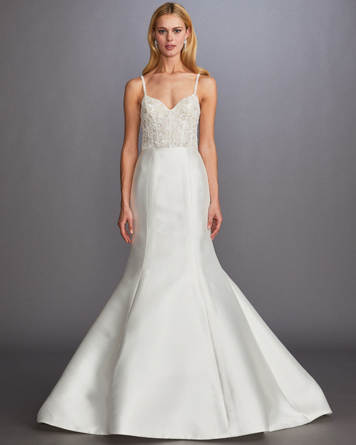 spaghetti strap sweetheart beaded trumpet wedding dress Allison Webb Spring 2020