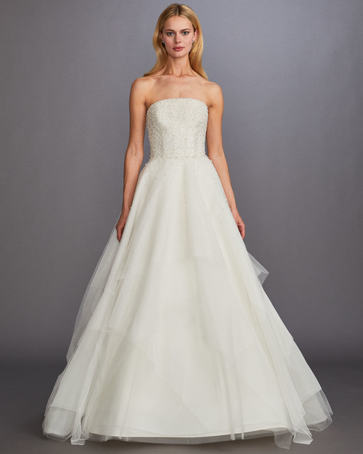 strapless straight across beaded glitter tulle skirt a-line wedding dress Allison Webb Spring 2020