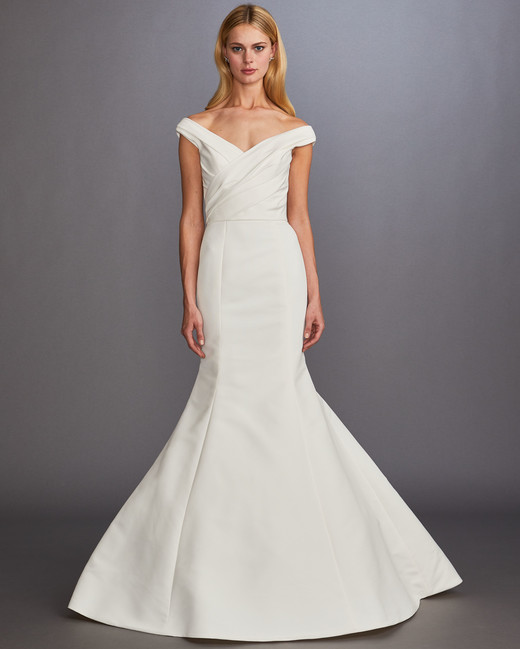 off-the-shoulder ruching trumpet wedding dress Allison Webb Spring 2020