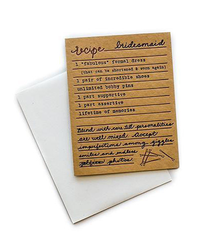 be my bridesmaid recipe card