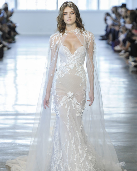 Berta Sweetheart with Sheer Cape Wedding Dress Fall 2018