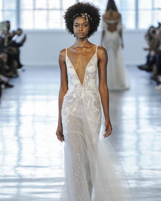 Berta Sheer Plunging V-Neck Wedding Dress Fall 2018
