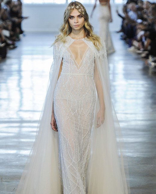 Berta V-Neck with Cape Wedding Dress Fall 2018
