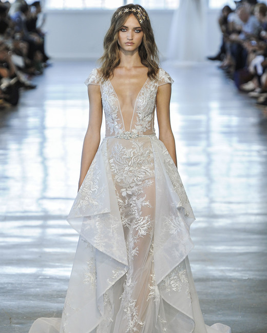 Berta V-Neck with Layered Skirt Wedding Dress Fall 2018
