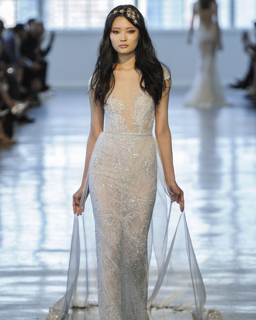 Berta Cap Sleeve with Sheer Train Wedding Dress Fall 2018