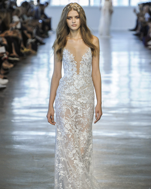 Berta Sheer Floral V-Neck Wedding Dress Fall 2018