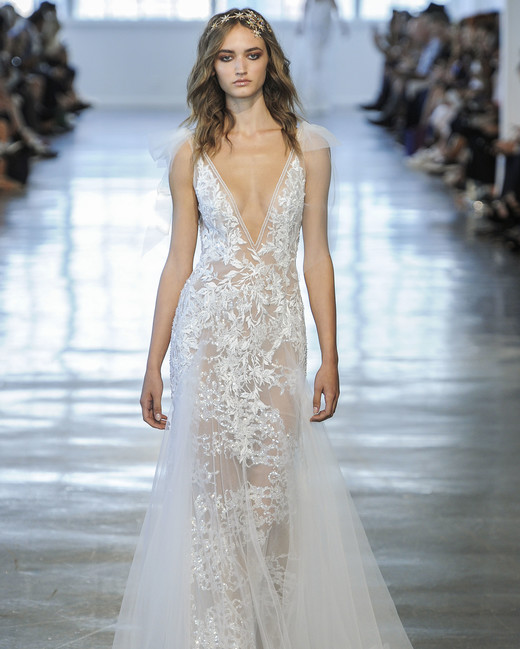 Berta V-Neck Sheath with Sheer Train Wedding Dress Fall 2018