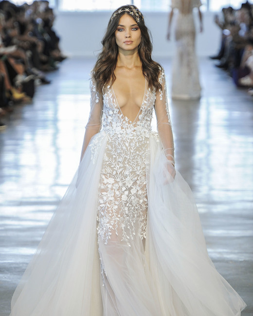 Berta V-Neck with Train Wedding Dress Fall 2018