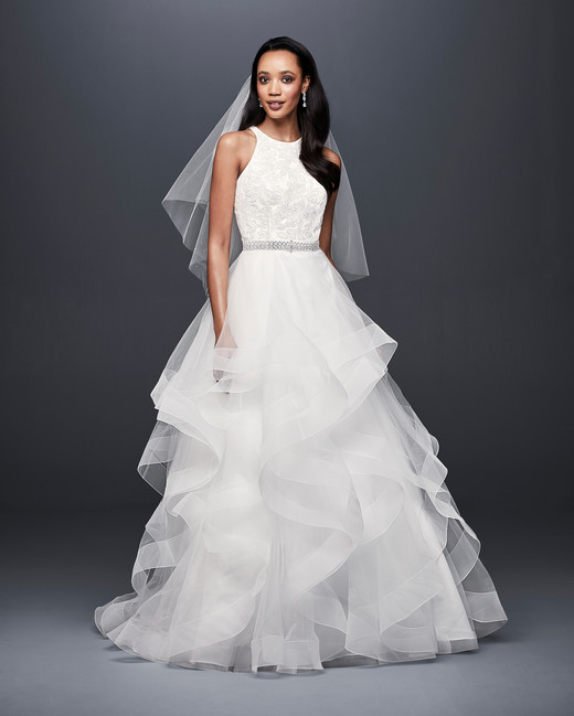 david bridal wedding dress spring 2019 tiers beaded belt sleeveless