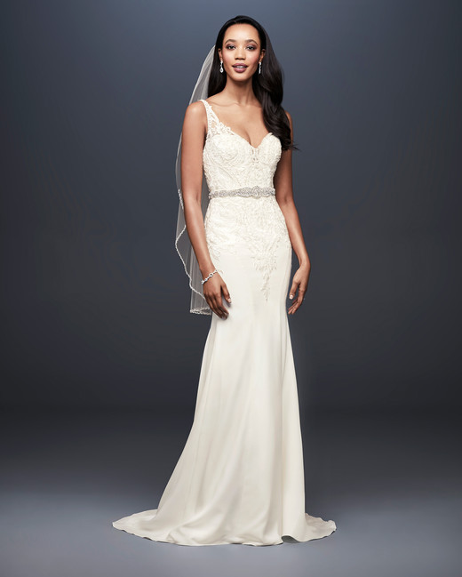 david bridal wedding dress spring 2019 v-neck lace beaded belt trumpet